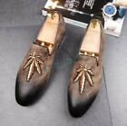 Roma Mens Retro Leather Pointy Toe Pull On Brogues Causal Dress Shoes US Size