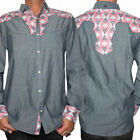 Rock Roll N Soul Fly Side Insect Western Men Button Dress Shirt Stone Grey S-2XL