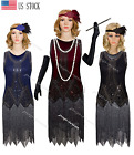 Vintage 1920s Flapper Beaded Dress Gatsby Party Prom Evening 20s Fringed Costume