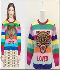 HQT womens Occident fashion knitting embroidery tiger rainbow striped sweater