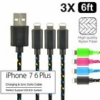 3 Pack 6ft Braided Charging Cable Cord Usb Charger Sync For Iphone 5 6 7 Plus
