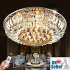 K9 Crystal Chandelier Flush Ceiling Light Lamp 3 Colours Dimmable + Remote CTRL