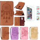 Luxury Embossed Wallet Leather Case Flip Purse And Hand Strap For LG Cell Phones