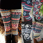 Usa Warm Womens Winter Christmas Snowflake Knitted Leggings Xmas Stockings Pants
