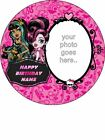 """EDIBLE ROUND 7,5""""  MONSTER HIGH BIRTHDAY CAKE TOPPER WITH OWN PICTURE"""