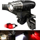 USB Rechargeable Bright LED Bicycle Bike Headlight and Rear Tail Light Set US