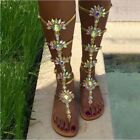 Womens Rhinestone Diamond Sandal Gladiator Roman Strap Flip Flops beach Shoes