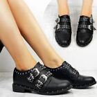 Womens Ladies Flat Studded Smart Shoes Grunge Creepers Goth Rock Punk UK Size