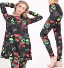 GIRLS WOMENS HALLOWEEN LONG SLEEVE MINI SWING DRESS TRICK OR TREAT SCARY GOTHIC