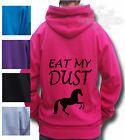 HORSE RIDING PONY RIDING FUNNY Equestrian HOODIE KIDS & ADULT  EAT MY DUST