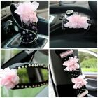 Pink Flower Car Accessories Interior For Girl Decoration Cover Diamond Leather