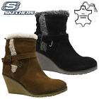 LADIES SKECHERS LEATHER MEMORY FOAM WARM FUR BIKER WINTER ANKLE BOOTS SHOES SIZE