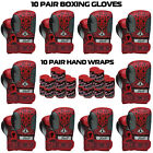 Boxing Gloves Sparring Punching Bag Muay thai Kickboxing 10 Pair Club Deal RED