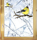 CLR:WND Goldfinch Bird Stained Glass Style Vinyl Window Decal ©YYDC -SIZE CHOICE