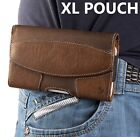 for XL SAMSUNG Phones - BROWN Suede Pouch Holder Belt Clip Holster Case Cover