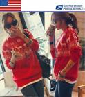 Girl Snow Deer Crew Neck Long Sleeve Knitted Sweater Red Jumper Christmas Santa