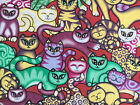 "Cute Cats On Red 100% Cotton Fabric 56"" Wide Per Yard Craft Quilt *Upto 30% OFF*"