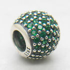 Genuine Authentic S925 Sterling Silver Dark Green Pave Lights Charm