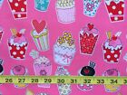 "Cup Cakes On Pink 100% Cotton Fabric FQ-Per Yard 56"" Wide Quilts Craft Patcwork"
