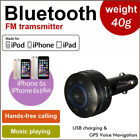 Wireless Bluetooth FM Transmitter Car Kit Hands Free speaker USB Charger in Car