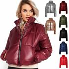 Ladies Puffer Crop Bubble Metallic Foil Womens Padded Quilted Jacket Coat Top