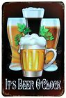 A4 SIZE IT'S BEER O'CLOCK - BECKS FOSTERS GUINNESS PUB BAR METAL PLAQUE SIGN B86