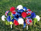 Cemetery Memorial Day Tombstone  Saddle Grave Flowers Patriotic July 4th Holiday