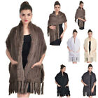 Ladies Best Real Knitted Rabbit Fur Stole Cape Long Shawl Womens Coat Shawl Warm