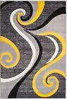 NEW AREA RUG (#39) GRAY YELLOW SWIRL -APRX SIZES: 2'X3' 2'X7' 4'X5' 5'X7' 8'X11'
