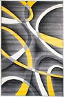 NEW (#21) AREA RUG - GRAY W/ YELLOW LINES -APRX SIZES: 2X3, 2X7, 4X5, 5X7 & 8X11