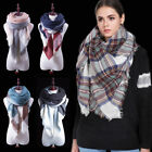 Fashion Oversized Plaid Blanket Scarf Large Checked Wrap Wool Shawl Winter Warm