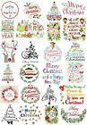 24 Mixed Merry Christmas Large Sticky White Paper Stickers Labels NEW