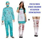 Bloody Zombie Nurse Scrubs Surgeon Halloween Horror Fancy Dress Outfit Costume