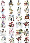 24 Mixed Snowman Christmas Large Sticky White Paper Stickers Labels NEW