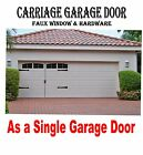 """Carriage House Style 16.5"""" x 9.5"""" Garage Door Decal Kit Faux Windows & Hardware"""