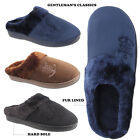 MENS SLIPPERS FUAX SUEDE WINTER WAM SLIP ON FUR LINED MULES SIZE 7 8 9 10 11