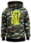 Men's Let's Just Rave Camo Hoodie Neon Music Dance Party Drink Raver Feast V417