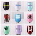 Stemless Wine Cup Stainless Tumbler Monogram Personalized Powder Coated 9 Colors