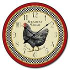 "Little Black Hen LARGE WALL CLOCK 10""- 48"" Whisper Quiet Non-Ticking WOOD HANDMA"
