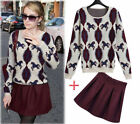 New Women 2 Piece Long Sleeve Round Neck Tops And Short Skirt Sweater Dress