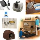 Indoor Cat House Pet Cage Bed with Mat Carrier Sifter Food Igloo Cave Coop Cups