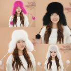 New Fashion Fox Fur Hat Women Winter Warm Earmuffs Cap Regular Women's Size