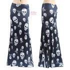 Women's LONG SKIRT Skull Black Sublimation maxi (S/M/L/XL/1XL/2XL/3XL)