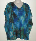 AUTOGRAPH KAFTAN TUNIC TOP :  V NECK TURQUOISE ANIMAL PRINT rrp  $79.95