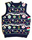 Mens Ugly Christmas Sweater Vest- Holiday Lights + FREE Ugly xmas Socks & Gloves
