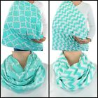 Aqua Breastfeeding Cover Chevron Handmade Infinity Scarf Nursing Privacy Baby