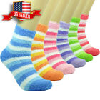 Lot 3-12 Pairs Womens Soft Cosy Fuzzy Warm Home Striped Slipper Socks Size 9-11