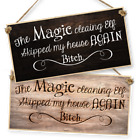 "WITCHCRAFT AND WIZARDRY HANGING SIGN ""THE MAGIC CLEANING ELF"" dark or light"