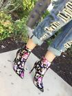 Dedicate-06 Pointy Toe Floral Print Dress Stiletto High Heel Ankle Boot Bootie