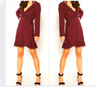 John Zack  Wrap Over  Frill Dress  Wine Burgandy Red  Made in  London UK